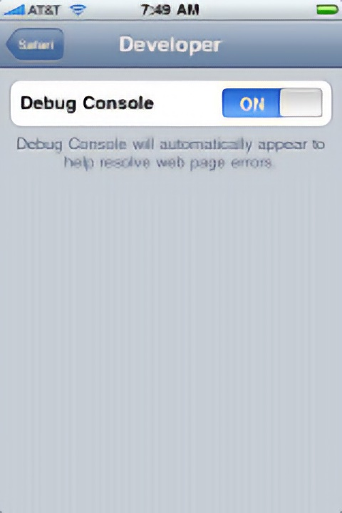 Step By Step: Turn On The iPhone/iPad's Web Debugging Console